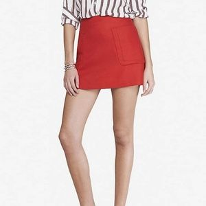 Express Red Patch Pocket A-Line Mini Skirt